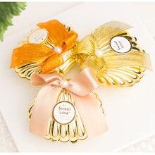Boîtes à bonbons en plastique pour mariage 15 pièces/lot   Boîtes à bonbons dragées créatives avec nœud de Peal, fournitures spéciales pour fête