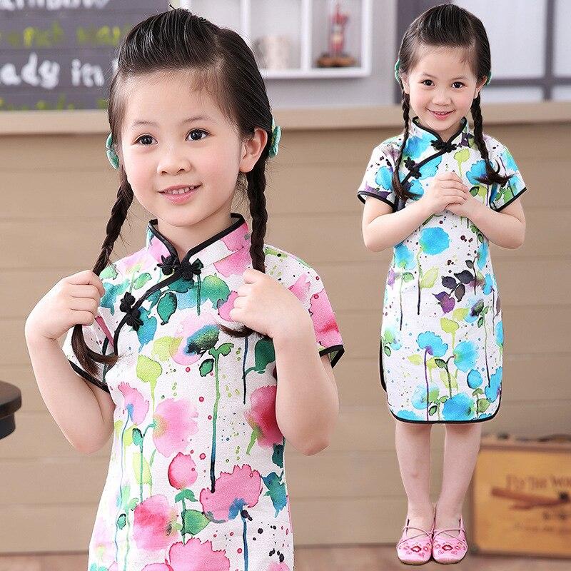Летнее платье-Чонсам для девочек, классическое Хлопковое платье в стиле ретро с пряжкой на вороте и кружевной вышивкой в виде цветов, милое ...
