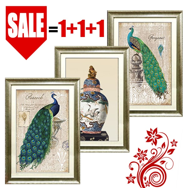 Pintura decorativa para el hogar, pintura retro de pavo real triple, arte de sala de estar, decoración, pinturas abstractas en lienzo de pavo real