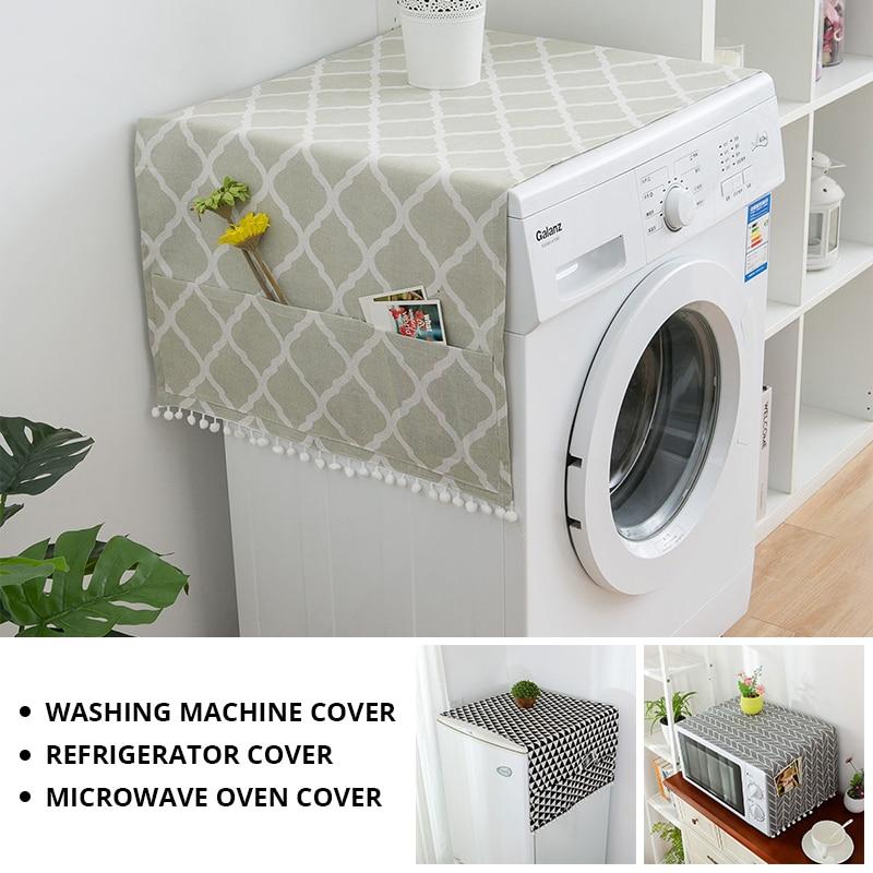 Чехол для стиральной машины из искусственного льна с карманом для холодильника, верхняя крышка для микроволновой печи, Пыленепроницаемая К...