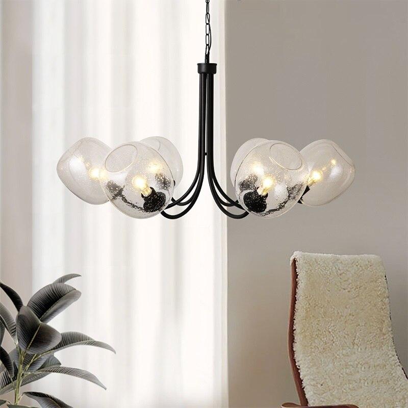 Luces colgantes LED de bola de Gllass moderno 6 cabezales colgante de lámpara de hierro para sala de estar de dormitorio