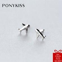 PONYKISS Trendy S925 Sterling Silver Minimalist Fashion Cute Zircon Airplane Stud Earrings Women Simple Jewelry Birthday Party