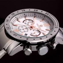 MEGIR Top Luxury Brand relogio masculino Chronograph Calendar Clock Mens Full Steel Military Sport Watch Men Male Watches 3008