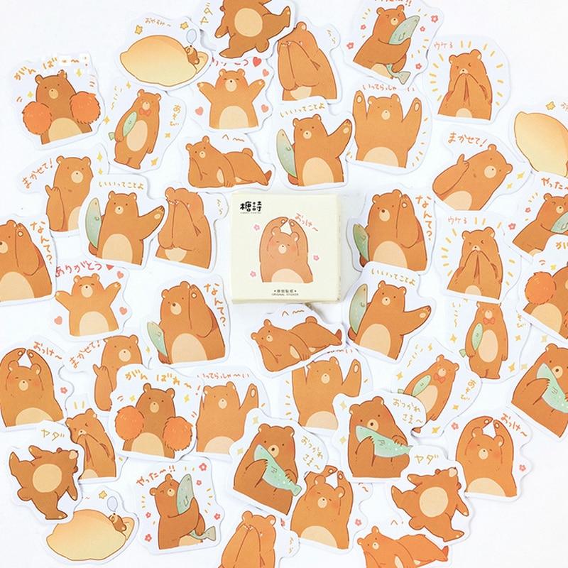 1 pacote 45 folhas de papelaria adesivos urso diário planejador decorativo móvel adesivos scrapbooking diy artesanato adesivos