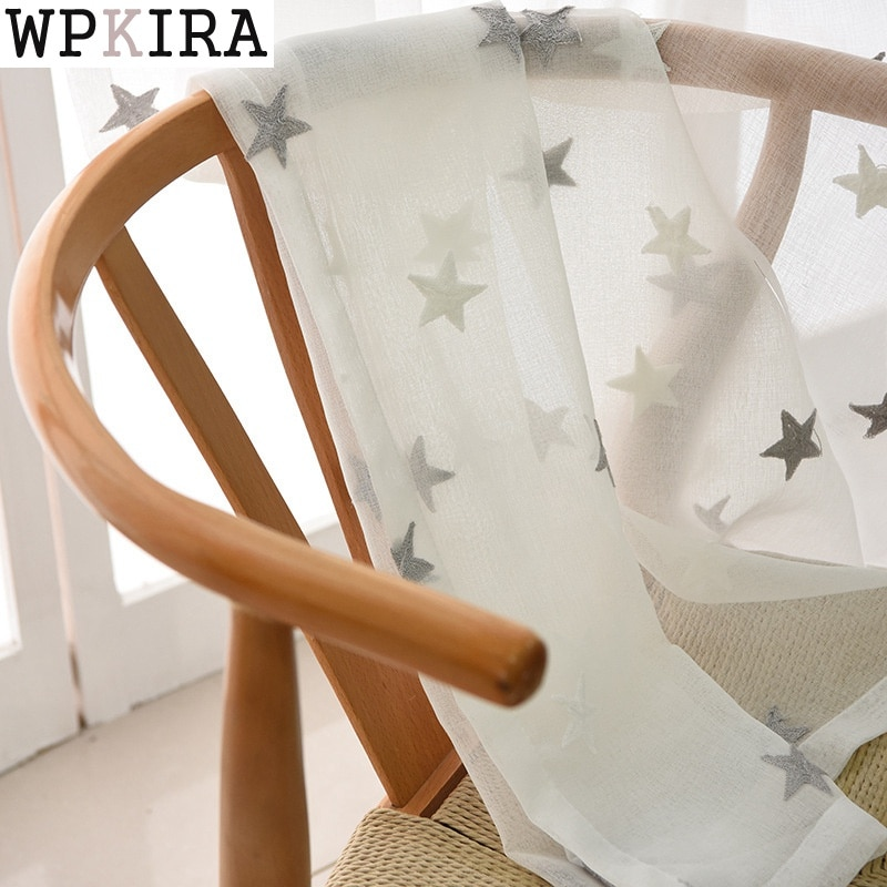 Cinza rosa estrelas bordados voile cortinas para sala de estar o quarto sheer tule janela cortinas tecido 159 & 30
