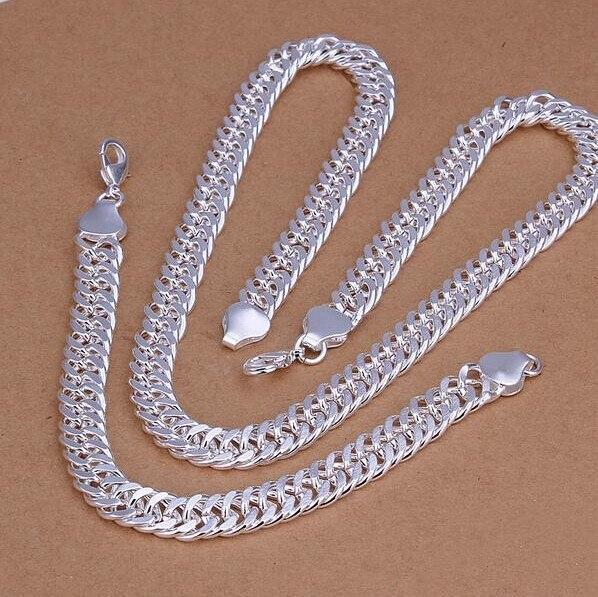 ¡Oferta! Promoción de joyería de moda fija S925 joyería de color plateado 10 MM collar y pulsera para hombre 2 pecas set S145