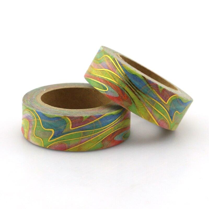 1 uds, nueva cinta Washi de 15mm x 10M, color arcoíris, cinta adhesiva de papel de alta calidad, cinta adhesiva dorada, cinta adhesiva de papel