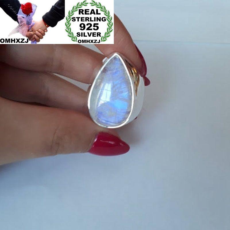 OMHXZJ venta al por mayor de moda europea mujer hombre fiesta regalo de boda plata blanca gota de agua piedra lunar 925 anillo de plata esterlina RR34