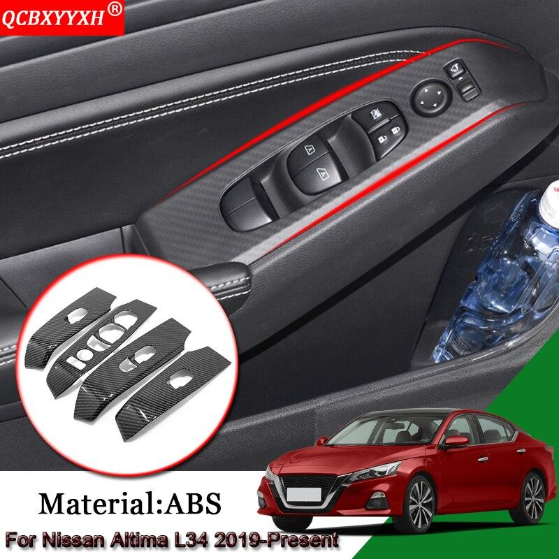 Cubierta del Panel del interruptor de la ventana de la puerta Interior del coche del estilo del coche accesorios de las pegatinas del coche para Nissan Altima L34 2019- presente
