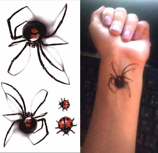 Водонепроницаемые временные тату наклейки 3D Паук тату Божья коровка Хэллоуин мужские тату наклейки флэш-тату поддельные татуировки для же...