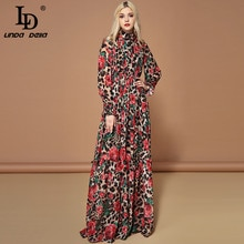 LD LINDA DELLA Fashion Runway Long Sleeve Maxi Dresses Women's Elegant Party Rose Floral Leopard Print Long Dress Holiday Dress