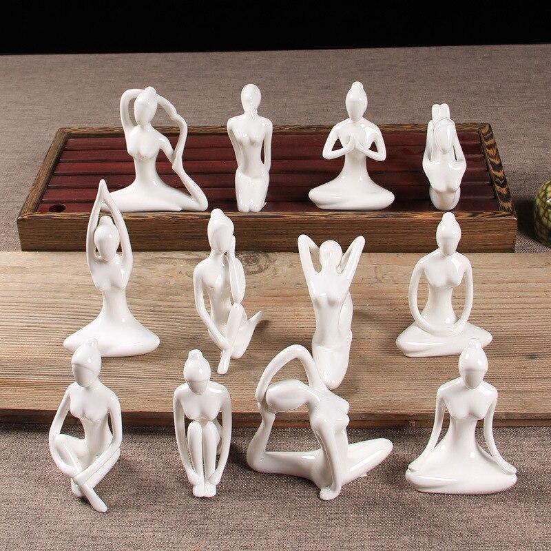 Home Decorative Porcelain Ceramic Yoga Pose Yoga Figurine Statue, Meditation Room Yoga Figurine, Yoga Pose Statue