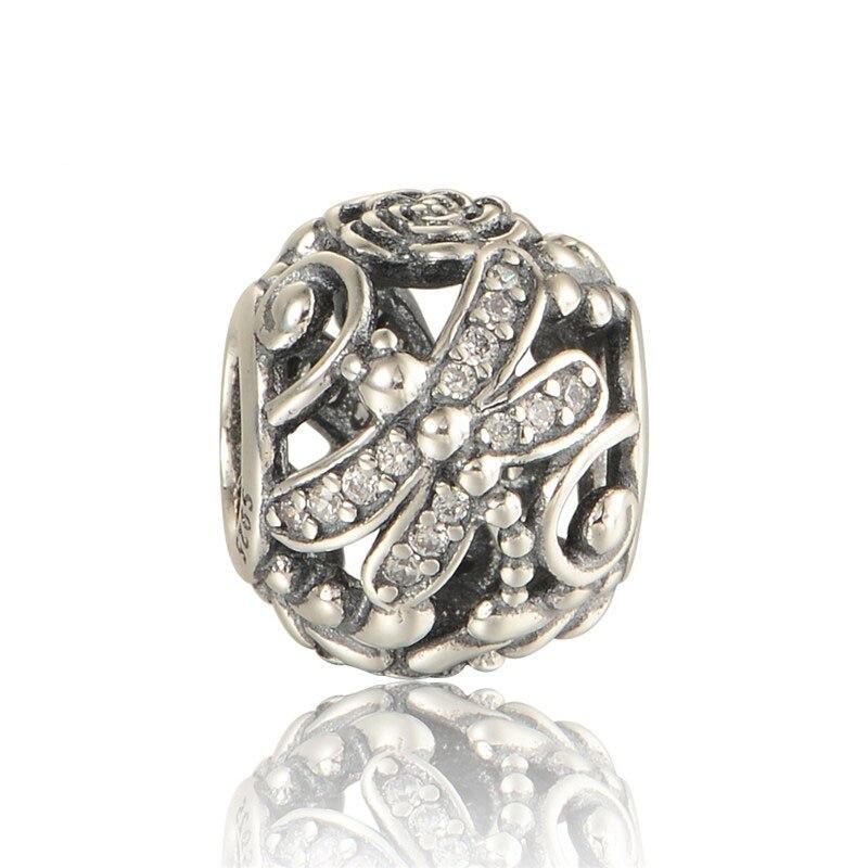 Joyas de plata de ley 925 Dragonfly Meadow con colgantes de piedra CZ transparentes se ajustan a pulseras de plata europea para mujeres