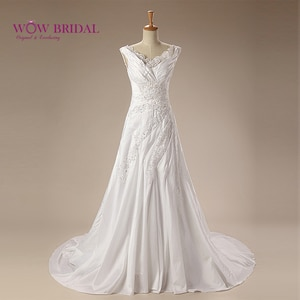 Wowbridal Graceful White Wedding Dress 2021 V-Neck Lace Embroidered Button Open Back Sequin Beaded Satin Court Train Bridal Gown