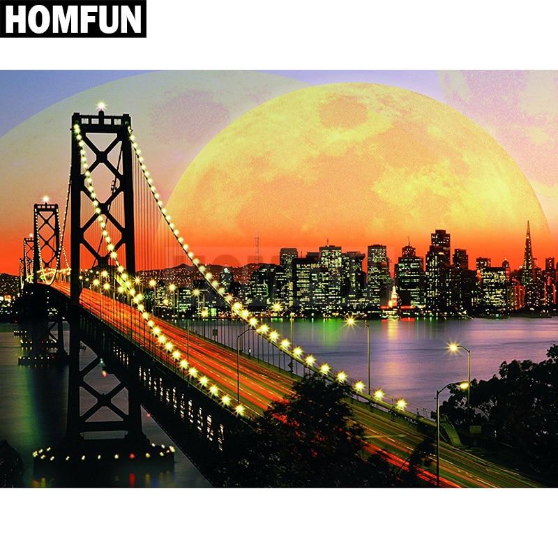 "HOMFUN cuadrado completo/taladro redondo 5D DIY diamante pintura ""sunset bridge"" bordado 3D punto de cruz 5D Decoración regalo A00392"