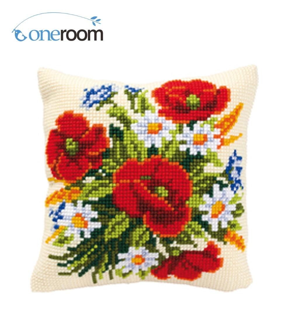 Caliente poppy Kit de costura sin Bordado de hilo acrílico para cojín tapiz cojín Cruz frontal Stitch funda de almohada