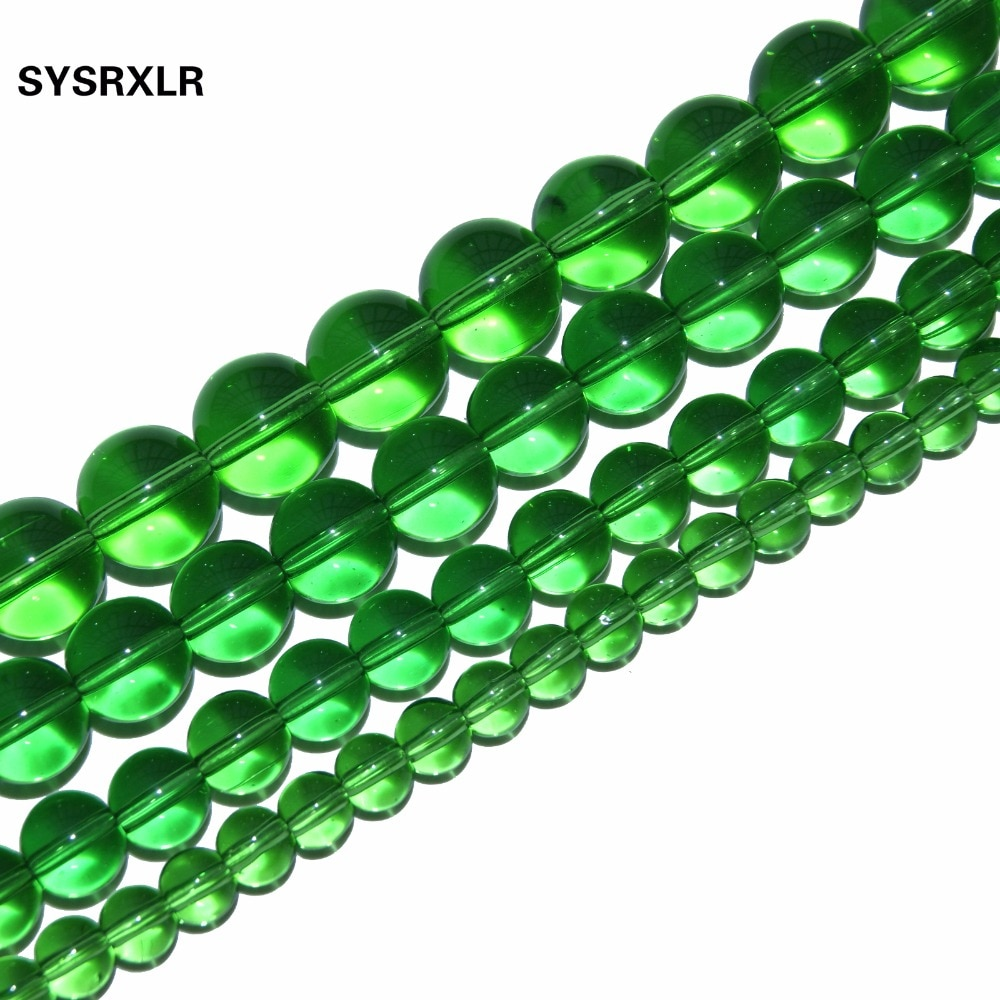 Venta al por mayor, cuentas redondas sueltas de cristal verde claro para fabricación de joyas, pulsera DIY, collar 6/8/10/12 MM hebra 15