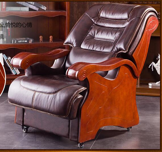 Boss chair leather reclining chair chair office chair solid wood chair four-foot computer chair. leather computer chair household office chair office stool long sitting chair solid wood boss chair lying massage
