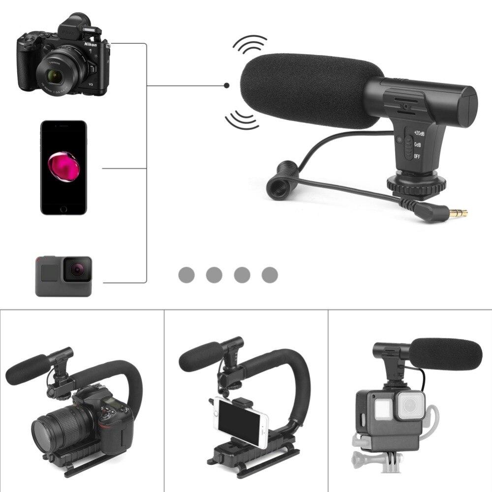 3.5 milímetros Câmera MIC-05 Vlong Entrevista Fotografia Microfone Microfone de Gravação de Vídeo Digital para Nikon Canon DSLR Camera