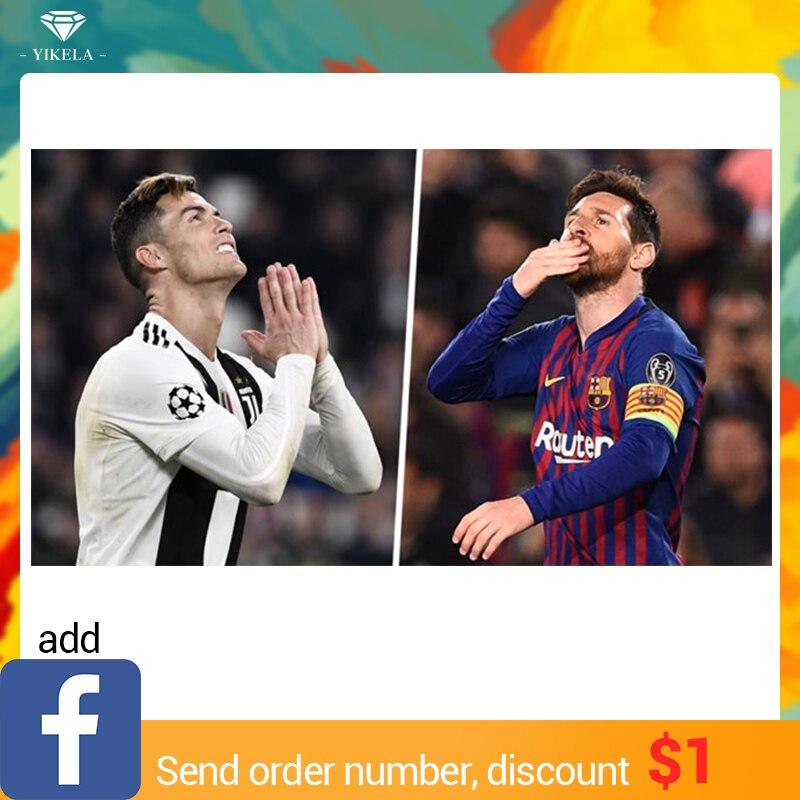 DIY 5D diamante mosaico fútbol jugador Messi/C Ronaldo hecho a mano diamante pintura Cruz puntada Kits diamante bordado