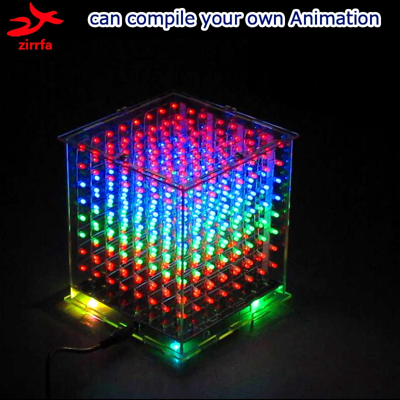 Cubeeds com Excelentes Zirrfa Atacado Pces Multicolorido Mini Luz Animações 8x8x8 Led Kit Eletrônico Diy 3 3d8