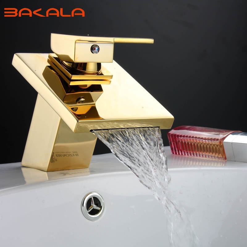 BAKALA الذهبي النحاس مربع شلال صنبور حوض للحمام صنبور الغرور بالوعة صنبور حوض خلاط LT-509A