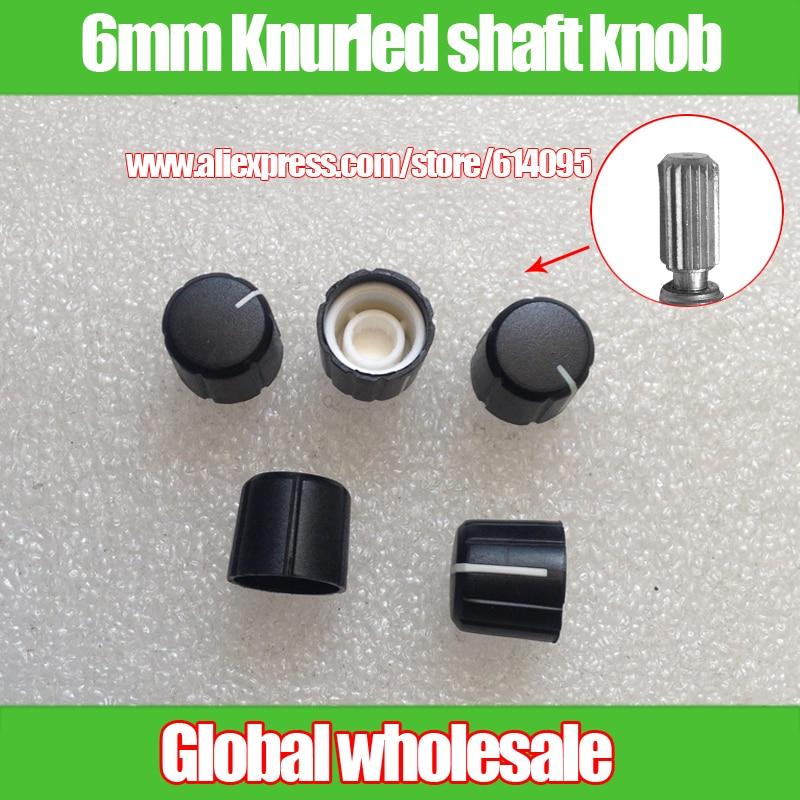 5pcs 148 plum stalk potentiometer knob cap / black body white indication / knurling axis power leveler audio volume switch knob