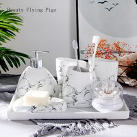 Marble pattern wedding bathroom accessories 5 piece set bathroom set soap dispenser / toothbrush holder / cup / soap dish bath