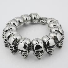 LINSION 316L Stainless Steel Mens Skulls Bracelet Biker Link Chain 5Q010 Free Shipping