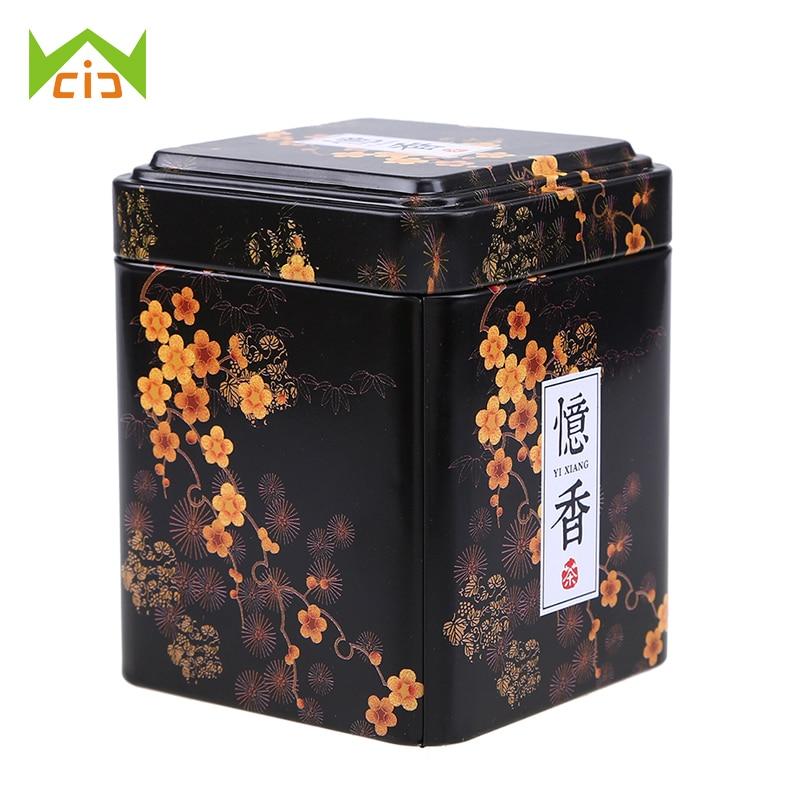 Contenedores de té WCIC, caja de estaño de hierro para dulces galletita de Chocolate, caja de almacenamiento, lata de café para regalo, contenedores de té chinos Retro