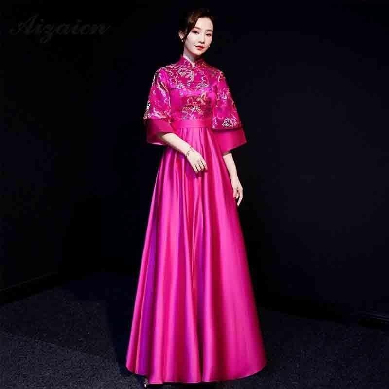 Vestido de Boda China tradicional Qipao largo Cheongsam rojo satén novia Oriental vestidos brocado de oro bata dama de honor