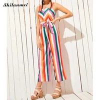 women summer rompers wide leg long overalls colorful striped jumpsuits beach style lace up sashes rainbow pants fashion jumpsuit