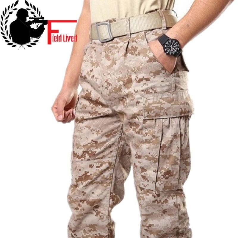 رجل الصحراء العسكرية الجيش القتالية التكتيكية السراويل مع منصات الركبة التمويه كامو التعب البضائع السراويل العسكرية للرجال