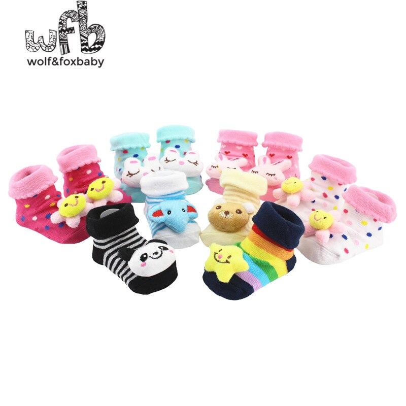 Al por menor, 2 par/paquete, calcetines Unisex para bebé recién nacido con caricaturas de animales, zapatos de algodón, botines, botas de 0 a 10M