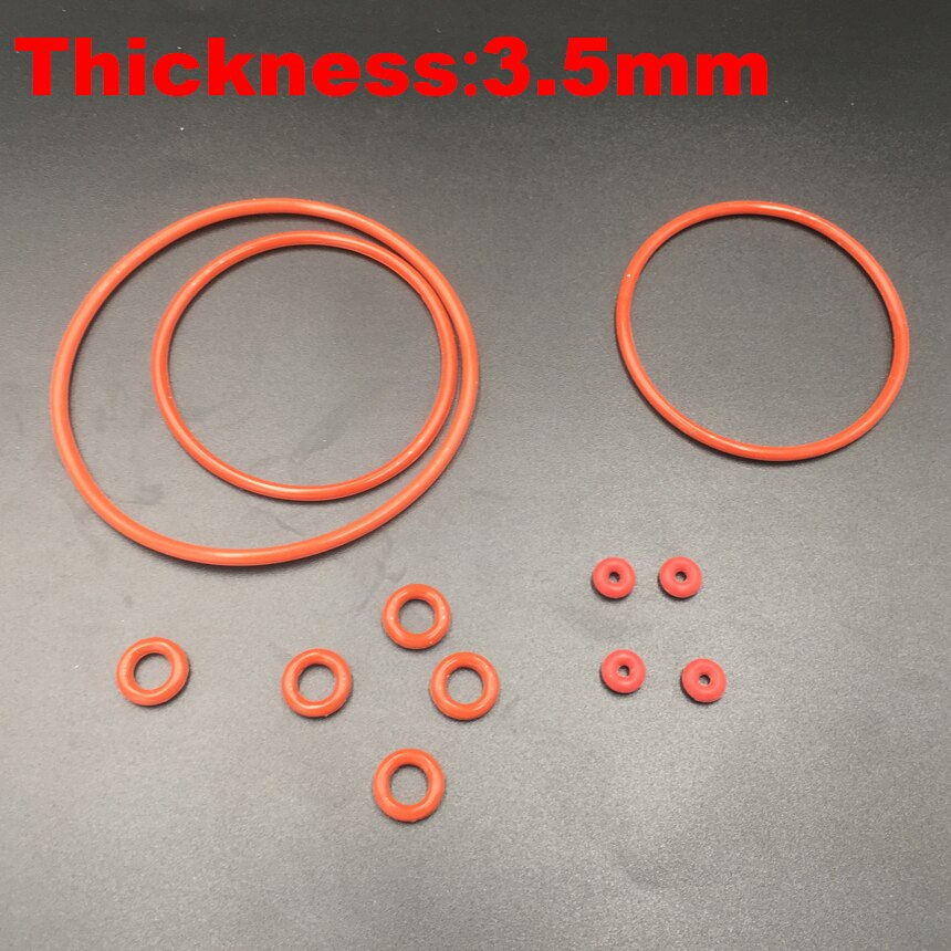 20 piezas x 56x3,5*56*3,5 57x3,5 57*3,5 (OD * espesor) 3,5mm VMQ alimentos grado silicona roja sello de aceite O anillo de junta