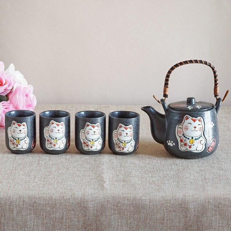 5 in 1 Plutus Cat Teapots Cute Cartoon Cups Coffee Milk Sets Creative Tea Pots Cup Mugs Ceramic Home Decor Child Christmas Gifts
