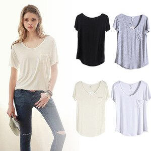 New Summer Women Modal O Neck Loose T Shirts Soft Solid Short Sleeve Blouse Tops