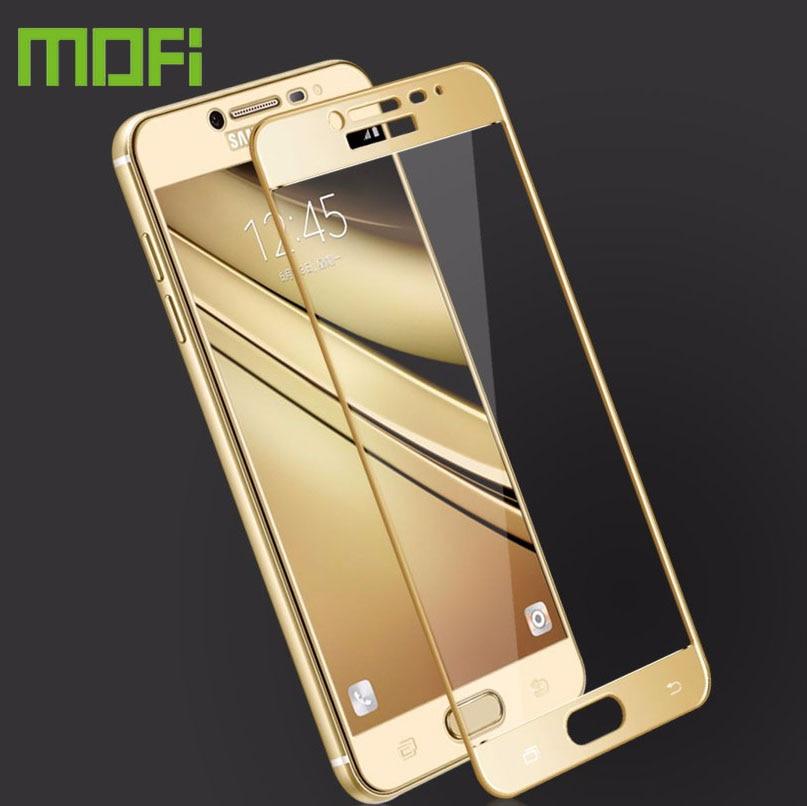 """Mofi Premium 2.5D película de vidrio templado a prueba de explosiones Protector de pantalla para Samsung Galaxy C7 C7000 5,7 """"Vidrio de película de color"""
