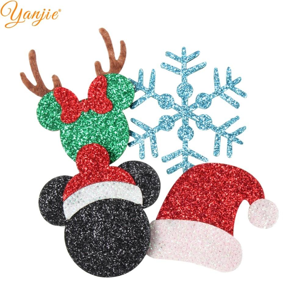 12 unids/lote 2020 nuevas almohadillas de fieltro de Navidad sombrero de cuero brillante árbol copo de nieve muñeco de nieve niña DIY accesorios para el cabello diadema