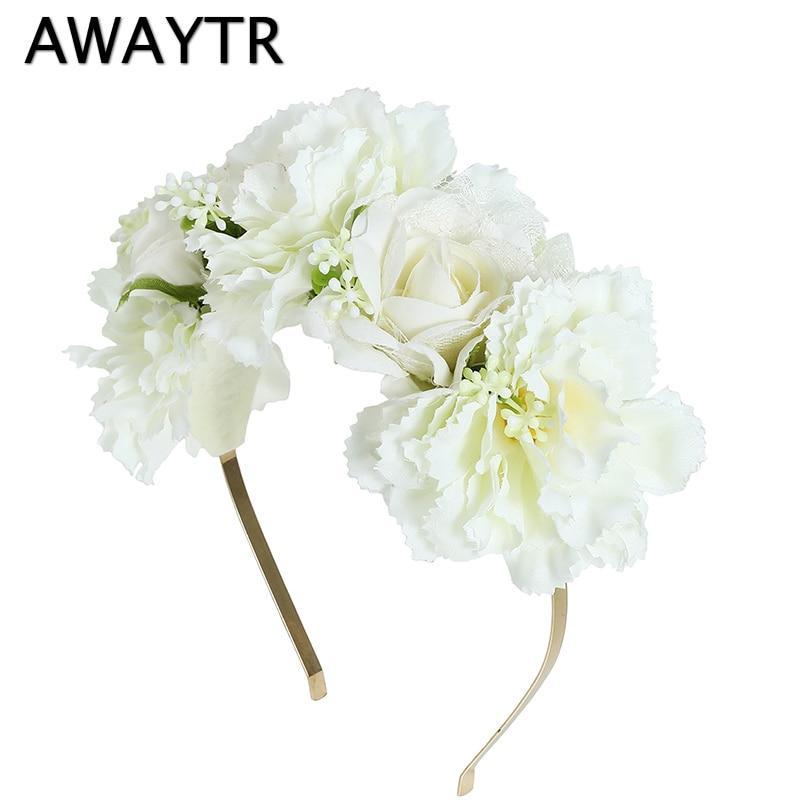 Головная повязка AWAYTR, белый и бежевый венок с цветами для свадьбы, женский весенний пляжный ободок для волос, гирлянда для фотосъемки