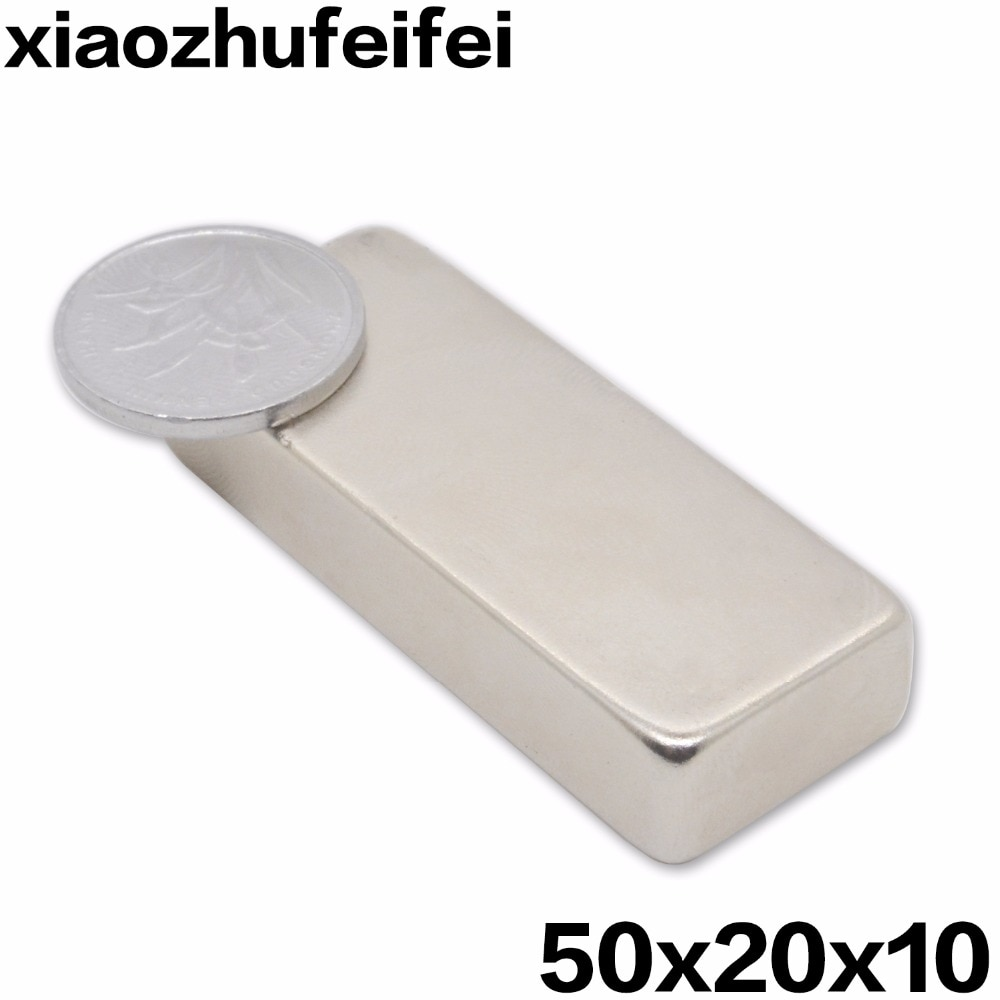 Редкоземельный неодимовый блок, супер мощный, 5 шт., 50*20*10, N35, 50 мм x 20 мм x 10 мм, бесплатная доставка