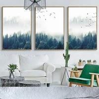 Autocollants muraux mode nordique paysage de foret  affiche dart et peinture sur toile imprimee  image decorative pour salon  decoration de maison