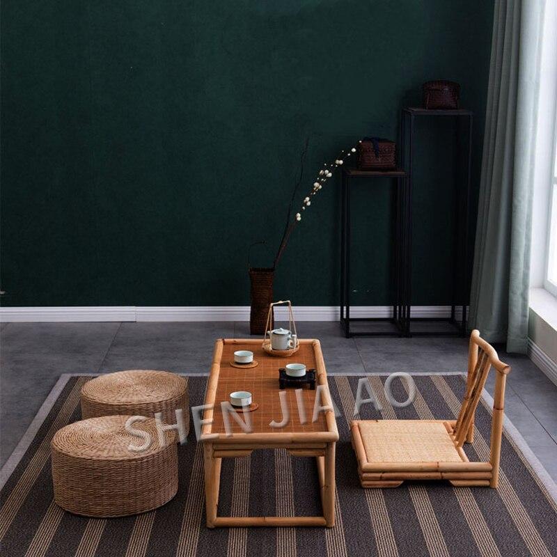 طاولة الشاي الرجعية الخيزران الروطان شرفة النمط الياباني تاتامي طاولة القهوة خليج نافذة الخيزران والروطان الحرفية الجدول 1 قطعة
