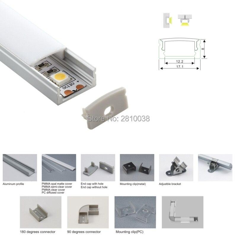 Barras de aluminio anodizado tipo U para tira led y Perfil de...