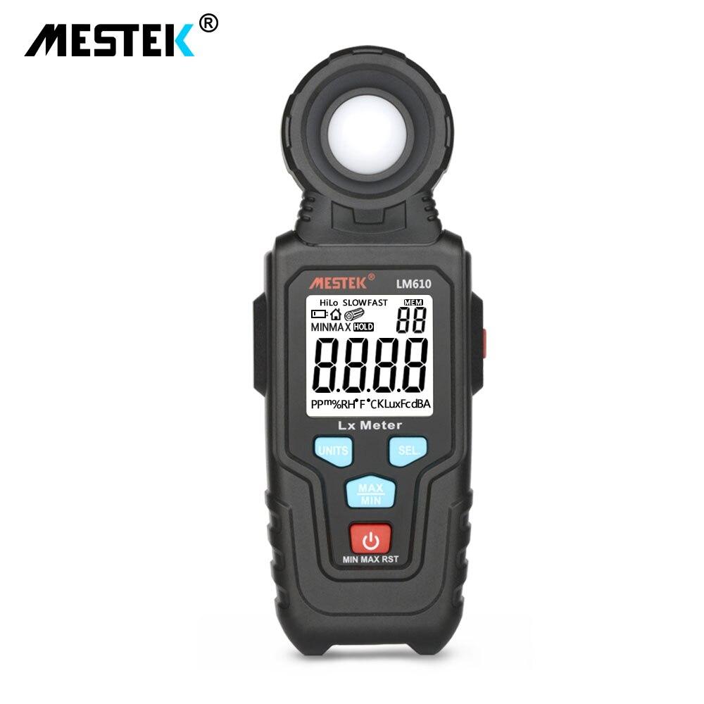Mestek iluminômetro medidor de luz 10.000 lux luminância digital max min gama automática de alta precisão iluminômetros fotômetro