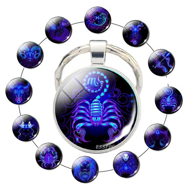 12 Zodiac Sign Scorpion Lion Glass Metal Keychain Women Men Couples Keychain Car Key Holder Rings Fashion Astrology Gifts