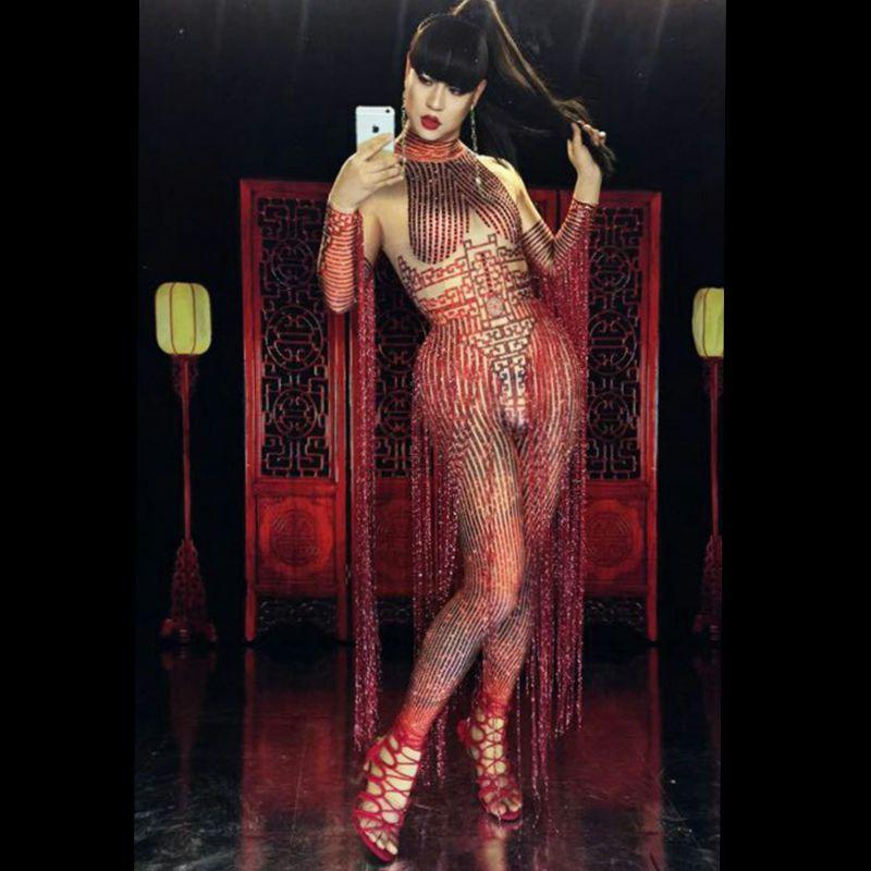 جمبسوت أحمر من حجر الراين للنساء ، زي مثير بشرابة ، ديسكو ، مغنية ، زي رقص مسرحي ، ملابس أداء DS