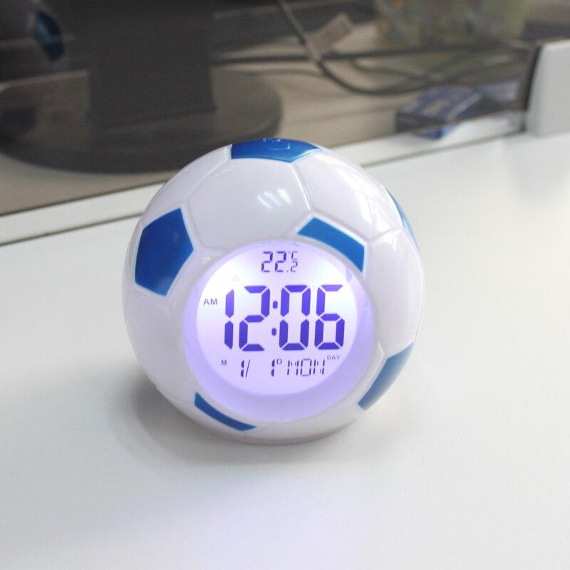 Будильник с футбольные Часы светодиодный ами, цифровые часы с функцией повтора и подсветкой, дисплей температуры, управление звуками, футбо...