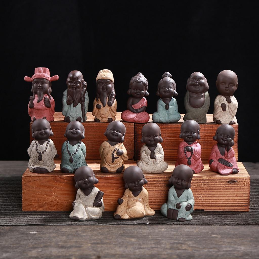 Pequeña figurita de monje de arena púrpura, pequeño para té chino estatua de Buda, decoración de bandeja de té, adorno de sobremesa para el hogar