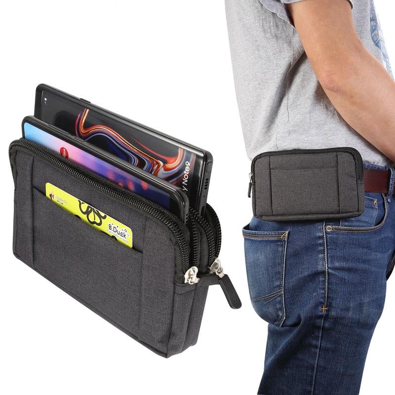Bolsa de teléfono para xiaomi redmi note 5 pro mi max 3 mi 8 a2 pocofone F1 redmi 6X 6 5 4x cinturón Clip tela vaquera bolsas de cintura Casual